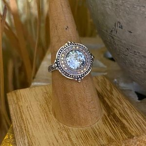 Sterling Silver Swarovski Crystal Ring Size 7